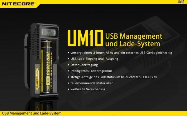Nitecore Sysmax UM10 - Ladegerät für Li-Ion Akks